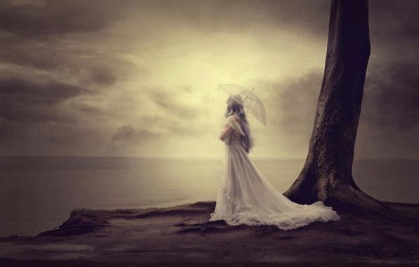 Picture girl, dream, shore, umbrella, dress, fine art, baltic sea