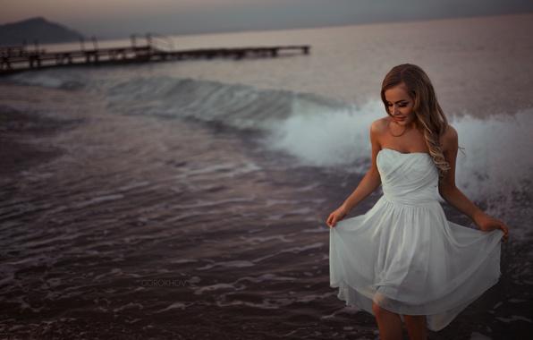 Picture Girl, Beautiful, Model, Water, White, Beauty, Sea, Fashion, Dress, Mary Jane, Gorokhov