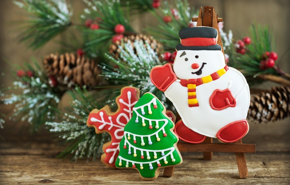 Picture holiday, new year, Christmas, branch, cookies, snowman, herringbone, bumps, pine, cakes