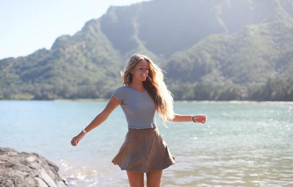 Picture girl, joy, face, hair, skirt, figure
