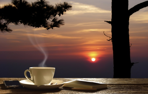 Picture summer, background, tea, positive, the evening, blur, mug, Cup, pencil, table, beautiful, saucer, background, evening, …