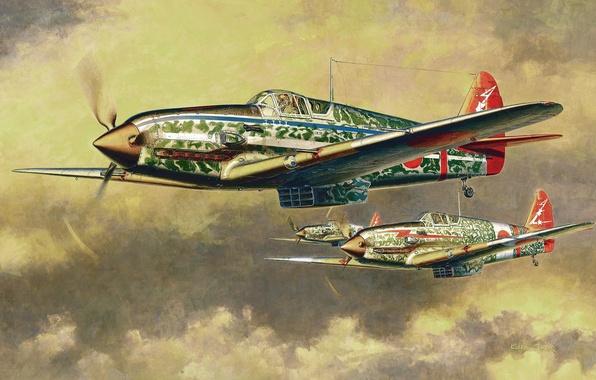 Picture aircraft, war, art, painting, aviation, drawing, ww2, japanese aircraft, Kawasaki KI-61 Hien Type I-Hei, japanese …
