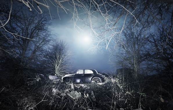 Picture field, machine, night, scrap