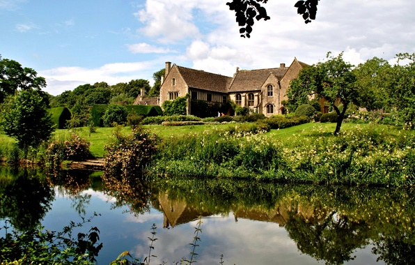 Picture greens, grass, water, trees, house, pond, reflection, England, mansion, the bushes, Atworth