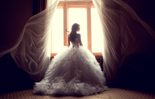 Picture dress, woman, window, curtains