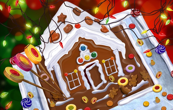Picture new year, sweets, cake, house, garland