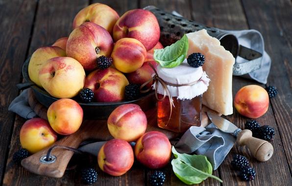 Picture leaves, berries, cheese, honey, dishes, Board, fruit, peaches, BlackBerry, nectarine, jar, Anna Verdina