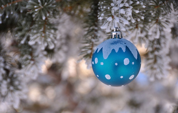 Picture winter, tree, new year, Christmas, spruce, ball, decoration