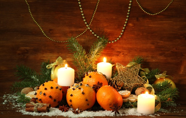 Picture decoration, tree, oranges, candles, New Year, Christmas, Christmas, decoration, Merry