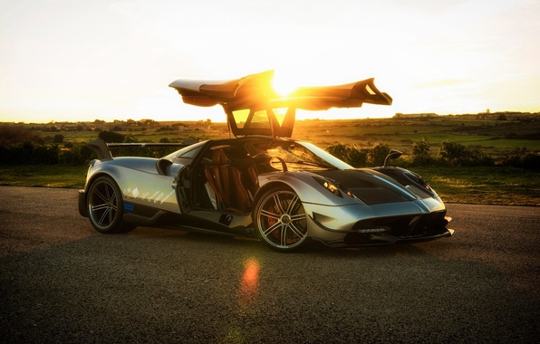 Picture the sun, rays, sunset, Pagani, To huayr