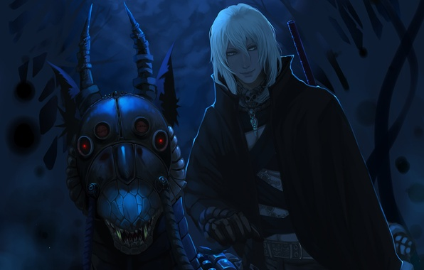 Picture night, smile, skull, monster, fangs, grin, horns, Guy, moonlight, red eyes