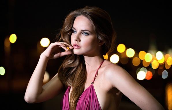 Picture girl, night, the city, model, dress, bokeh, Kristina Yakimova, Kristina Yakimova