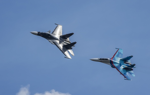 Picture flight, fighters, Su-27, Su-30