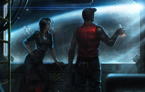 Picture girl, space, ship, bottle, planet, window, art, orbit, the window, helmet, male, astronaut, Salvador Trakal