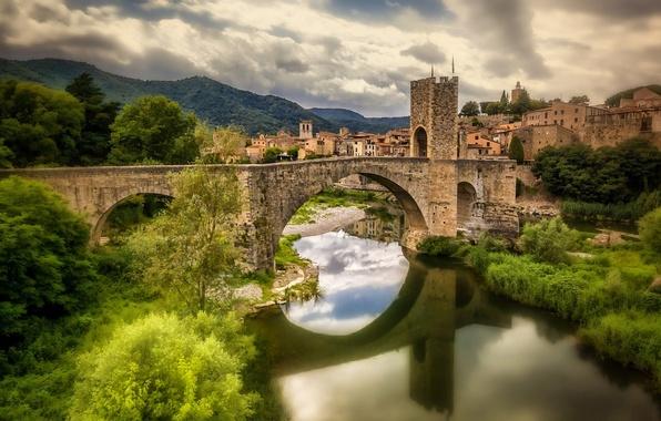 Picture bridge, reflection, Spain, Spain, Catalonia, Catalonia, Fluvia River, Besalú, Besalu, the river Fluvià