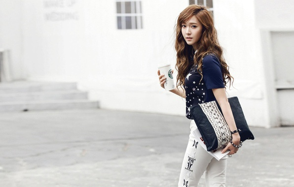 Picture girl, street, handbag, walk, Asian, Cup, Korea