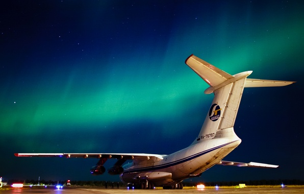 Picture night, Northern lights, the plane, North, Il-76TD