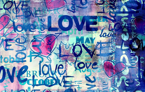 Picture love, blue, style, labels, background, Love, hearts, hearts, blue background