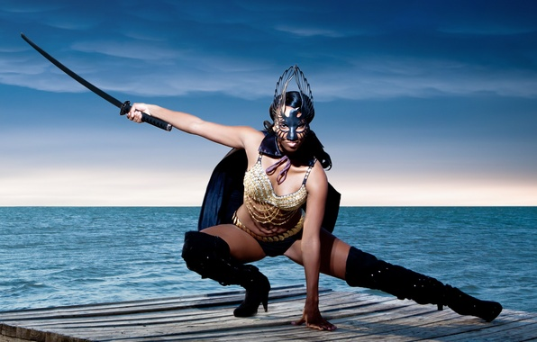 Picture girl, sword, katana
