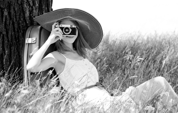 Picture girl, flowers, nature, smile, background, stay, widescreen, black and white, Wallpaper, mood, plants, camera, the …