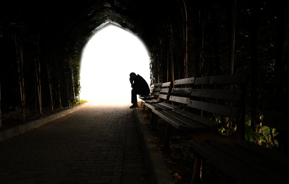 Photo Wallpaper Depression Loneliness Darkness Tunnel Light