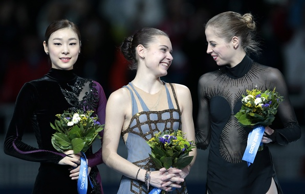Picture flowers, smile, victory, figure skating, Italy, Russia, Korea, pedestal, Sochi 2014, The XXII Winter Olympic …
