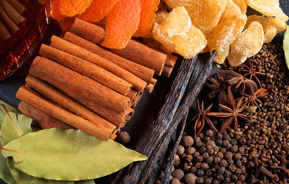 Picture pepper, cinnamon, vanilla, ginger, star anise, peel, Bay leaf