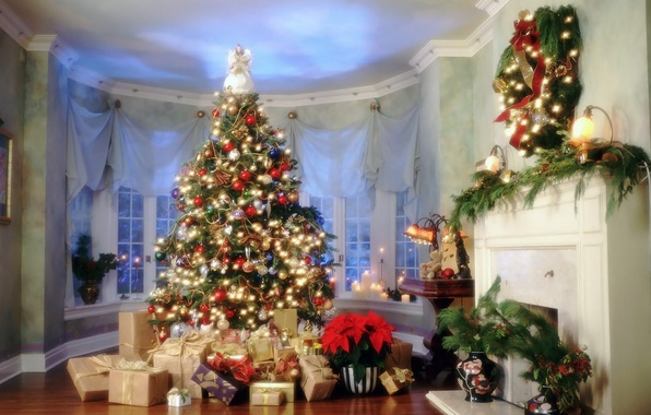 Picture New Year, House, gifts, Tree