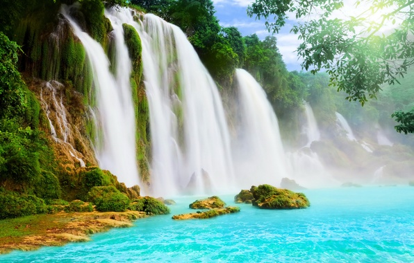 Picture water, waterfall, waterfalls, trees.