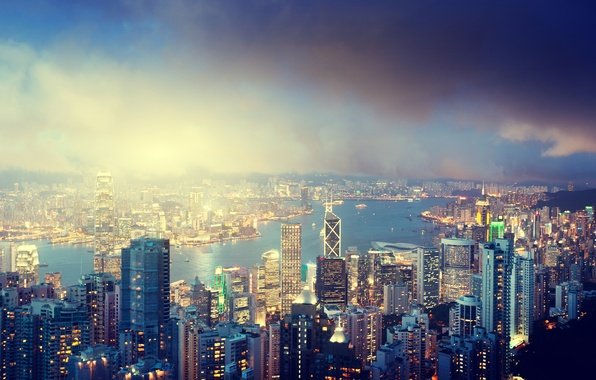 Picture the sky, clouds, night, city, the city, lights, lights, river, island, building, Hong Kong, China, ...