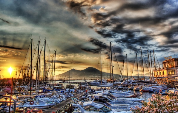 Picture sea, mountains, photo, HDR, ships, yachts, pier, Italy, pierce, Naples