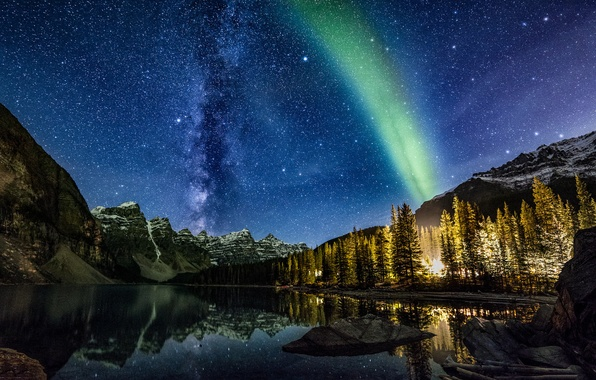 Picture the sky, stars, trees, landscape, mountains, night, nature