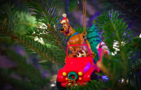 Picture machine, branches, holiday, gift, toy, new year, Christmas, dog, positive, driver, tree, needles, cap, toy, ...