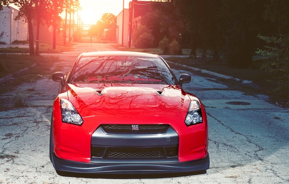 Picture sunset, red, nissan, red, Nissan, sunset, gtr, the front, gtr, r35, the inscription on the …