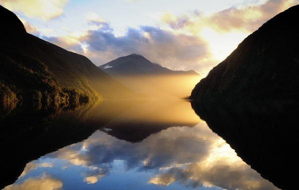 Picture clouds, mountains, fog, lake, new Zealand