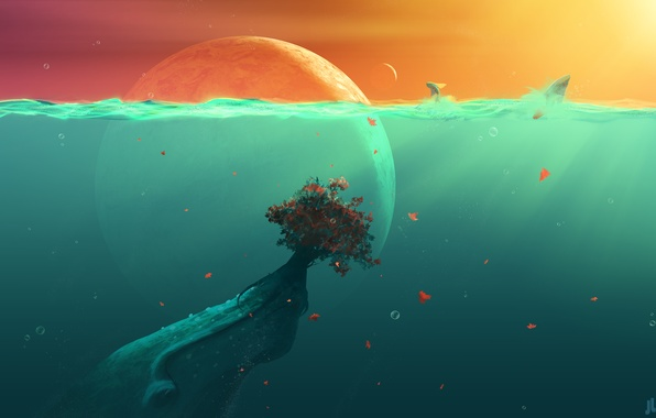 Picture leaves, water, fish, bubbles, the ocean, planet, plant, Bush, fantasy, under water