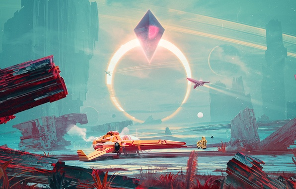Picture space, fiction, ship, planet, art, spaceship, Sci-Fi, No Man's Sky