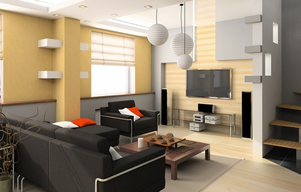 Picture style, table, room, sofa, TV, ladder