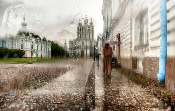 Picture girl, drops, rain, umbrella, Saint Petersburg, cloak