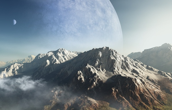 Picture clouds, mountains, planet, height, art, peak, ridge