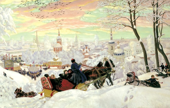 Picture winter, snow, people, holiday, picture, horse, sleigh, painting, three, canvas, Kustodiev, temples, Church, carnival