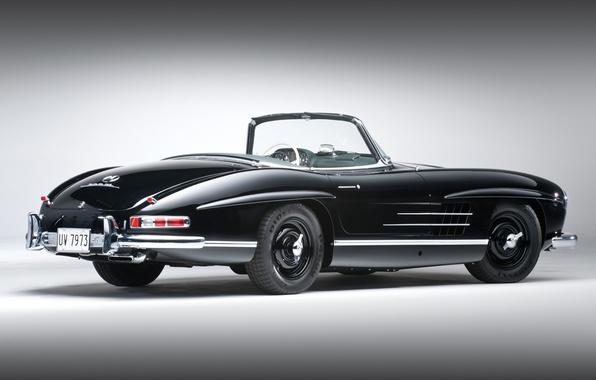 Picture black, convertible, classic, mercedes-benz, Mercedes, rear view, 1957, beautiful car, 300сл, 300sl