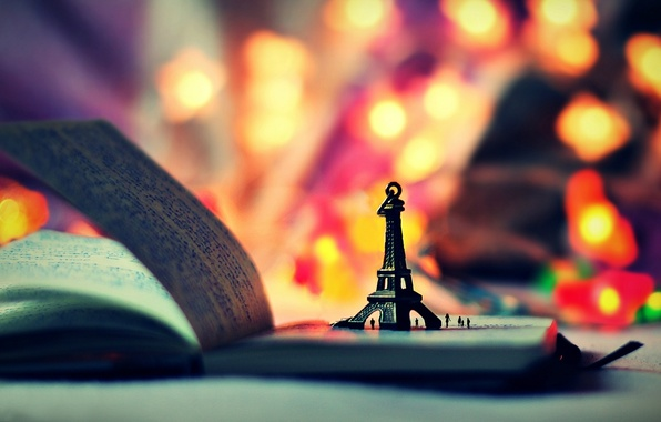 Picture lights, background, widescreen, Wallpaper, mood, toy, book, wallpaper, figurine, Eiffel tower, notebook, owner, widescreen, background, …