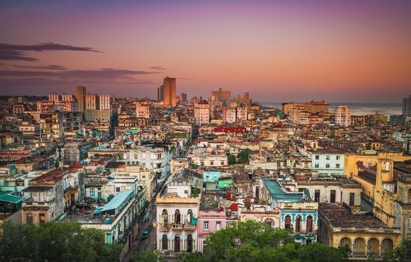Picture sea, the sky, clouds, building, home, roof, sunrise, street, Cuba, Havana