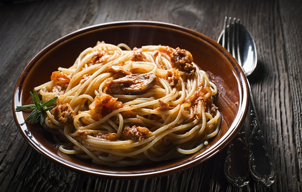 Picture photo, Spoon, Plate, Plug, Food, Main dishes, Pasta