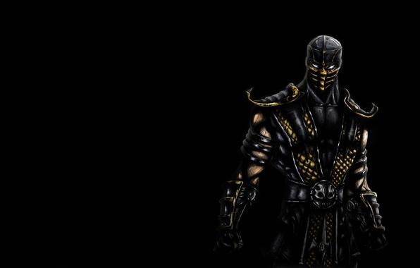 Picture the dark background, Scorpio, ninja, scorpion, mortal kombat, ninja