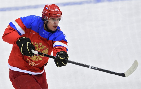Picture hockey, hockey player, throw, Evgeni Malkin, RUSSIA, The XXII Winter Olympic Games, Sochi 2014, SOCHI …