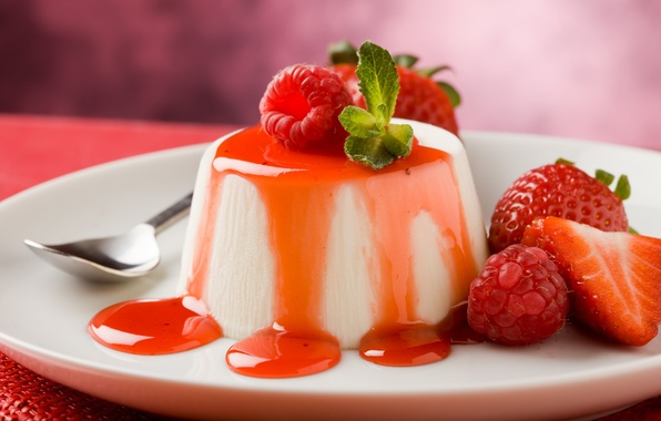 Picture honey, Italy, fruit, strawberry, spoon, dessert, sugar, berries, delicious, cinnamon, mint, Piedmont, spices, gelatin, taste, …