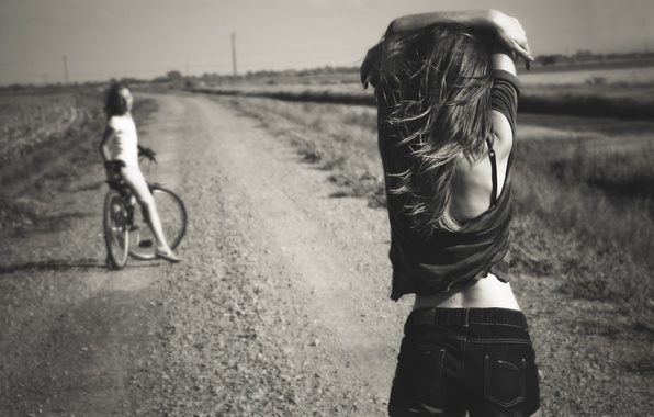 Picture road, summer, bike, girls, shorts