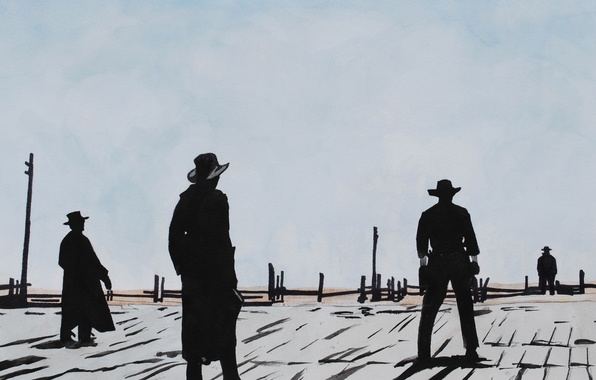 Picture the film, silhouette, cowboy, Western